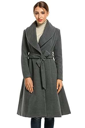 HOTOUCH Bavero inverno cappotto di lana lungo Cappotto svasato rivestimento delle donne