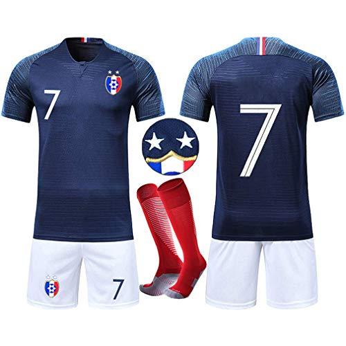 5abcd1507 OUJD Maillots de Football Enfants de France Soccer Jersey Coupe du Monde 2018  France 2 Étoiles