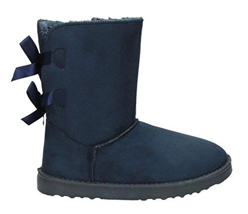 King Of Shoes Damen Stiefeletten Schnee Stiefel Boots Flache Schlupfstiefel Warm Gefüttert Winter Schuhe 783 (39, Blau 18)