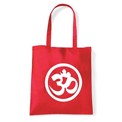 Art T-shirt, Borsa Shoulder Symbol Om Peace Rosso