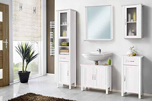 Galdem Solair Badmöbel-Set mit Spiegel Waschbeckenunterschrank Hochschrank Hängeschrank Seitenschrank Badezimmer Echtholz Weiß