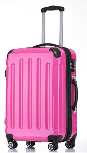 BEIBYE Zwillingsrollen 2048 Hartschale Trolley Koffer Reisekoffer in M-L-XL-Set in 14 Farben (M, PINK)