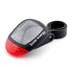Bike Bicycle Solar Powered Rear Back Safety Light 3 Function LED Tail Lamp-Red