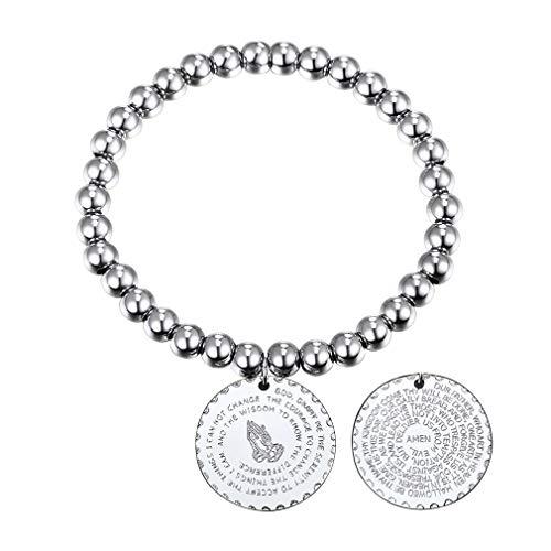 FaithHeart Edelstahl Silberne Farbe Perle armbänder Men\'s Armreif Basic rund anhänger Religiöse Person Platinum-Plated Länge: 15cm (+ 8cm)