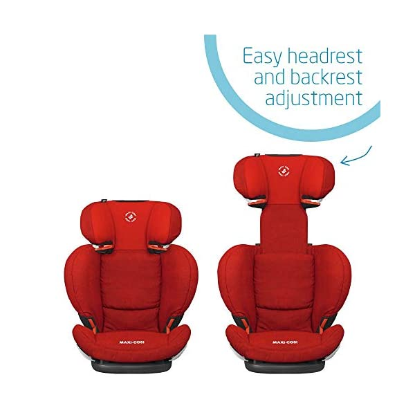 Maxi-Cosi RodiFix AirProtect Child Car Seat, ISOFIX Booster Seat, Extra Protection, 3.5-12 Years, 15-36 kg, Nomad Red Maxi-Cosi Outstanding side impact protection - with the combination of patented air protect technology Patented air protect technology in headrest - the risk of head and neck injuries are reduced up to 20% Quick and easy to buckle your child up with the 'easy-glide' system and clear belt routing 6