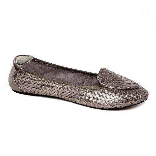Cocorose Faltbare Schuhe - Clapham Damen Ballerinas Leder - Zinn Silber - größe 40 - Zinn Ballerinas