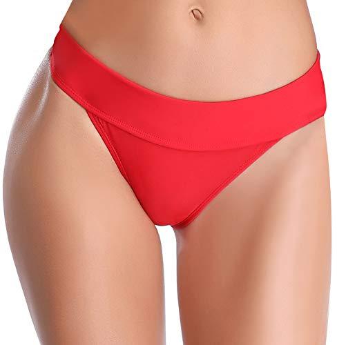 SHEKINI Damen Einfarbig Bikini Bottom Weibliche Badehose Brazilian Style Elastische Bikinihosen Bikini Slip Bikini Unterteile Bikini Shorts (L, Rot)