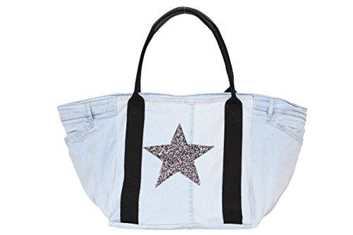 Damen Jeans Hose Shopper mit Glitzer Stern,Handtasche,Henkeltasche, Schultertasche,Hobo Bag JL922 Helljeans Schwarz Henkel