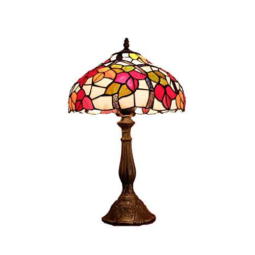Light-GYH Tiffany-Art-Schlafzimmer-Licht, 12 Zoll idyllische kreative rote Blumen-Buntglas-Nachttischlampe, Wohnzimmer-Nachttisch-Schreibtischlampe, E27