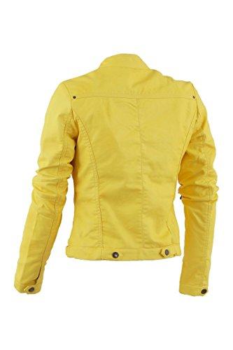 Softy Damen Lederjacke in 30 Farben Biker Style 0508 Vegan Leder Gelb