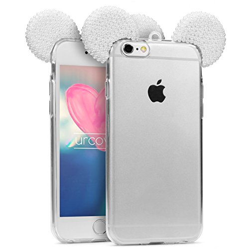 le kompatibel mit Apple iPhone 6 Plus / 6s Plus Maus Ohren mit Perlen | TPU Hülle in Weiß | Bling Ear Cover | Crystal Case | Glitzer Girl Diamant Strass Schale ()