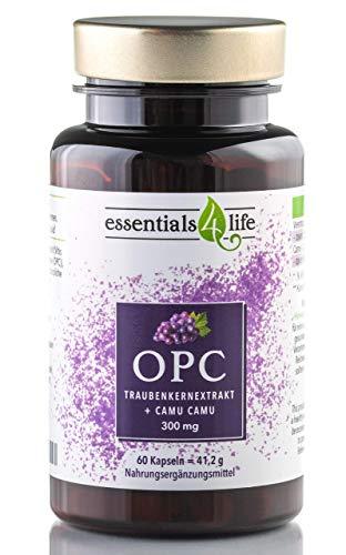 OPC Traubenkernextrakt 60 Kapseln hochdosiert + Vitamin C aus Camu-Camu, Für Haare, Haut, Augen, Nervensystem I Resveratrol o. Zusatzstoffe