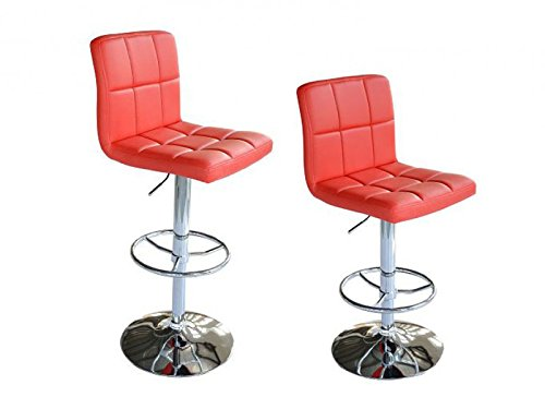 Bc-elec 5550-3401-RE-DUO BARHOCKER 2ER SET TRESENHOCKER LOUNGESESSEL HOCKER BAR STOOL BARSESSEL ROT