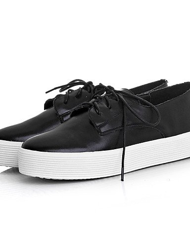 ZQ Scarpe Donna - Stringate - Casual - Plateau / Punta arrotondata - Plateau - Di pelle - Nero / Bianco , black-us5 / eu35 / uk3 / cn34 , black-us5 / eu35 / uk3 / cn34 black-us6 / eu36 / uk4 / cn36