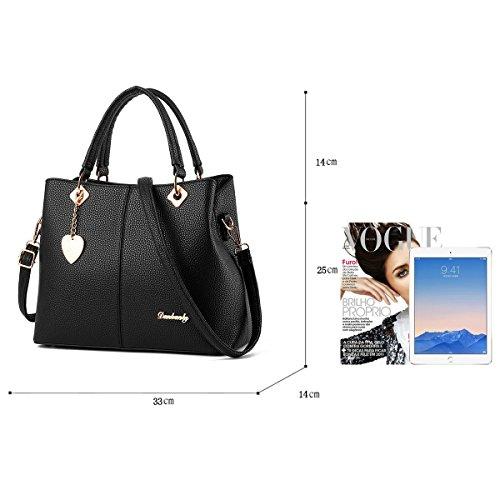 Sunas Borsa dell'unità di elaborazione semplice spalla borsetta borsa borsa messenger bag Ms. nero