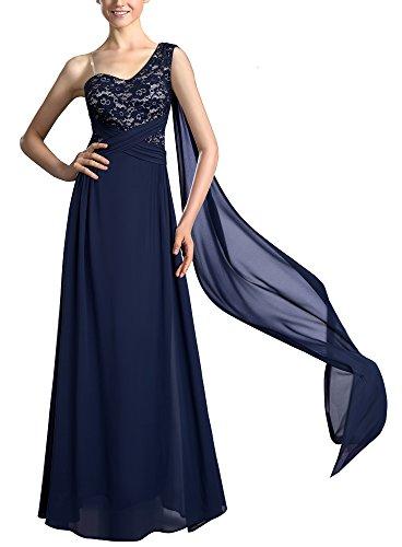 HOMEYEE Frauen elegante ein aus Schulter Cocktail Chiffon Prom Abend tragen Maxi Kleid A023(EU 40 = Size L,Dunkelblau) (Trägerlosen Chiffon-cocktail-kleid)