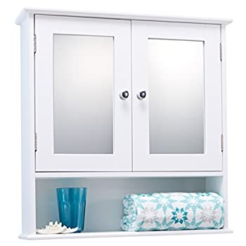 Portland Double Door White Bathroom Mirror Cabinet Mirrored Bathroom Cabinet 0