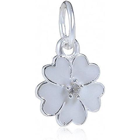 Primrose Prato con smalto bianco ciondola 925 Argento Perle Adatto fascini braccialetto europeo - Fascini Del Cuore Di Vetro