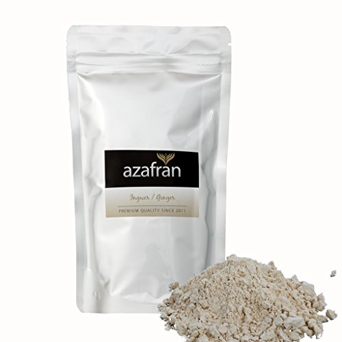 BIO-Ingwer - Ingwerpulver - Ingwerwurzel gemahlen (250g) von Azafran® - Ideal auch für Ingwertee oder Ingwerwasser Honig-zitrone-ingwer