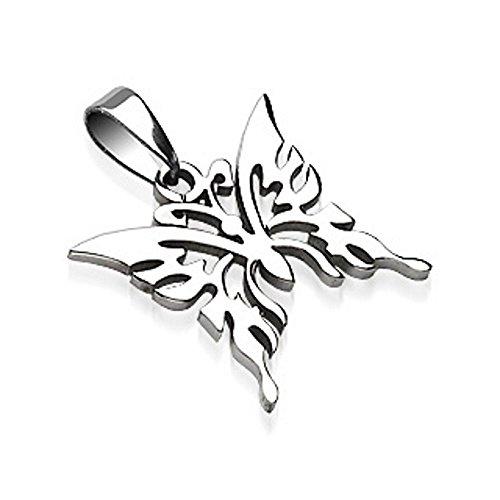 Bungsa® Schmetterling Anhänger für Halsketten Edelstahl Silber für Damen und Herren (Kettenanhänger Pendant Anhänger Charm Beads Chirurgenstahl Schmuck) (Logo-medallion Herren)