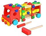 Iso Trade LKW Hammer Schrauben Spielzeug Holz Kunststoff Klopfbank Konstruktion Auto#6580