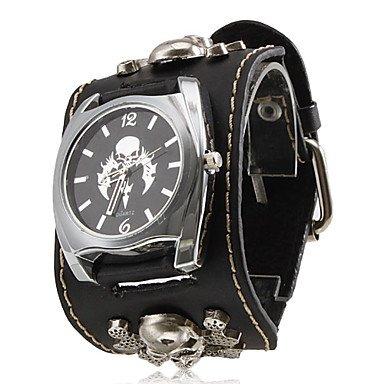 fenkoo Unisex Punk Estilo Calavera Patrón Negro PU Band cuarzo reloj de pulsera