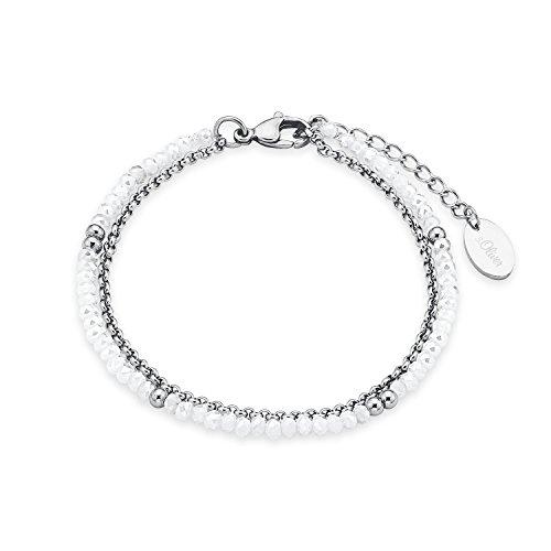 s.Oliver Damen-Armband White und Silver Edelstahl Glas weiß 20 cm - 573184