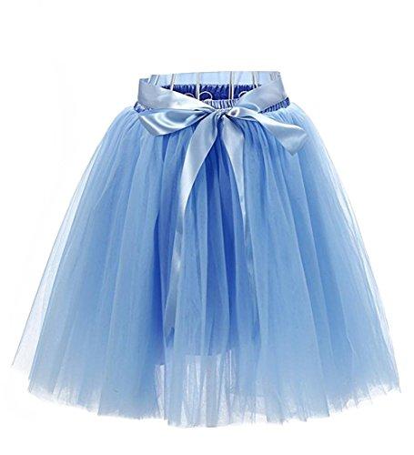 Facent Damen 7 Schichten Knielang Tüllrock Tutu Tüll Kleid Rock Reifrock Abendrock Hellblau