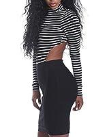 YiZYiF Damen Body Langarm Rollkragen Body Rückenfrei Bodysuit Tanz Bodys Streifen Gr. S M L XL