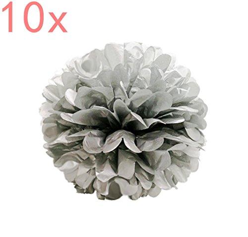 SYOO 10x Silber Pom Pom Pompom Pompon, Durchmesser 25cm, seidenpapier Dekoration für Schlafzimmer Hochzeit Geburtstag Kinderparty Babyparty Taufe Garten Party