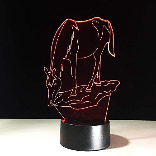 WJPDELP-YEDE Kreative 7 Farbwechsel Pferd LED Nightlights 3D LED Schreibtisch Tischlampe USB Nachtschlafen Leuchte Pferd Dekoration Licht