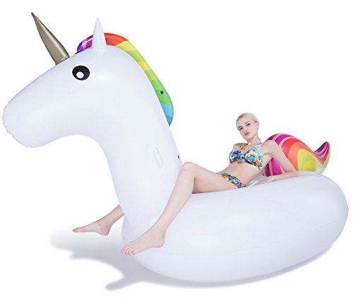 JasonwellInflable Gigante de Unicornio Flotador Piscina Unicornio hinchable colchonetas piscina flotador unicornio piscina para adultos, Juguete para fiesta de piscina con válvula rápida(Unicornio)