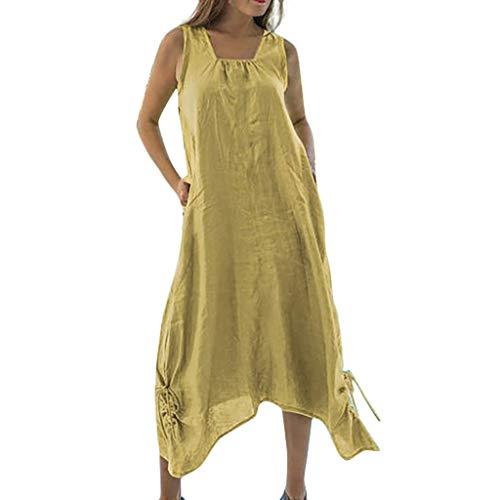 Damen Leinenkleid Sommer Lang Tunika Kleid Vintage Baggy Party Kleider Langarm Baumwolle Leinen Kleid Maxikleid Strandkleid Große Größe S-5XL (3XL/EU:44, Gelb - A) -