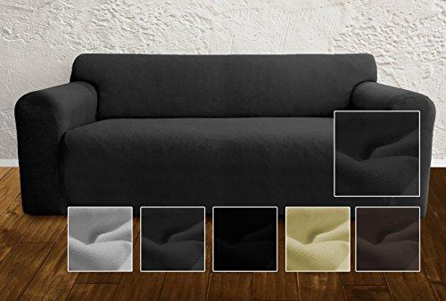 Ambivelle Couchhusse, Sofabezug, Couchbezug, bi-elastische Stretchhusse, Spannbezug für viele gängige 2er Sofas, anthrazit