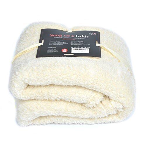 Pink Papaya SnugMe Teddy, flauschig weiche XL Cashmere-Touch Kuschel-Decke, 150 x 200 cm, 270g/m² Teddy-Fleece, Farbe: Beige/Cream
