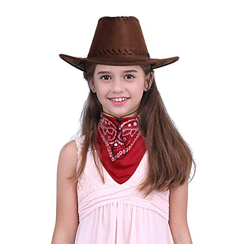 Freebily Unisexo Niños Sombrero de Vaqueros con Pañuelo Disfraz Niños de Cowboy Occidental Pistolero para Fiesta Halloween Carnaval Gorro Cordón Marrón Red&Coffee One Size