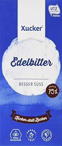 Xucker Edelbitter Xylit-Schokolade, 5er-Pack zuckerfreie Schokolade mit Xylit, 5 x 100g Tafel, 75% Kakaogehalt