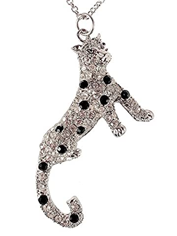 Alilang Crystal and Synthetic Jet Rhinestone Leopard Necklace Pendant