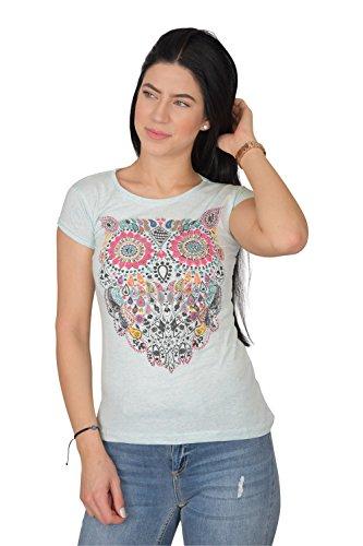 Golden Trachten Damen T Shirt Slim Fit Baumwolle Mit Stylischer Eule Elegantes Sommer Tshirt, 7080, Türkis, M