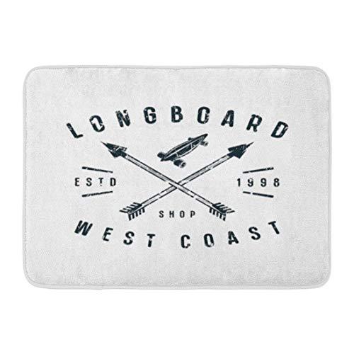 Doormats Bath Rugs Outdoor/Indoor Fußmatte Arrow Emblem of Longboard Graphic Black Athletic Badge Board Club Bathroom Decor Rug 19.5 * 31.5 inch -