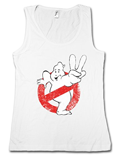 VINTAGE GHOSTBUSTERS LOGO II DONNA CANOTTA TANK TOP - The Real SOS Ghost Insignia Fantômes Movie Acchiappafantasmi Slimer Taglie S - XL