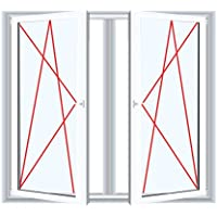 Kunststofffenster Badfenster Ornament Chinchilla Weiss Dreh//Kipp Anschlag:DIN Links BxH:500x400 Glas:2-Fach