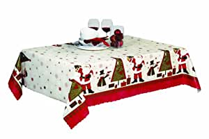THE TABLECLOTH SHOP Santa's Christmas Tree Christmas Wipe Clean Vinyl Tablecloth Table Cover 2 Metres