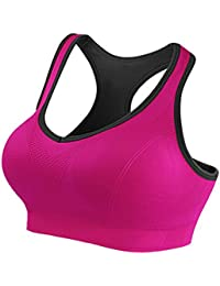 7e055a8777df6 Honglion Women s Sport Yoga Bra Running Jogging Fitness Exercise High  Impact Racerback Workout Bra