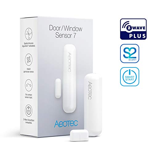 Aeotec Door / Window Sensor 7, Z-Wave Plus S2 Smart Start, 3-in-1 with Dry Contact and Tilt Sensors, Durata Della Batteria Di 3 Anni, Bianco