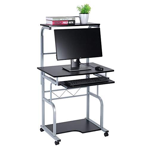 Gototop scrivania per computer scrivania ufficio, tavolo da scrittura porta pc tavolo per computer con ripiani tastiera scorrevole e ruote, 45 x 45 x 128cm