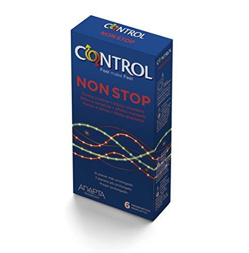 Control Non-Stop - 6 gerippt/genoppte Kondome für längere Liebe, mit Benzokain für mehr Ausdauer, aktverlängernd