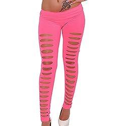 Pantalones Ajustados Tramo Delgado Pantalones Lápiz Skinny Rotos Pantalones Leggins Pink Talla única