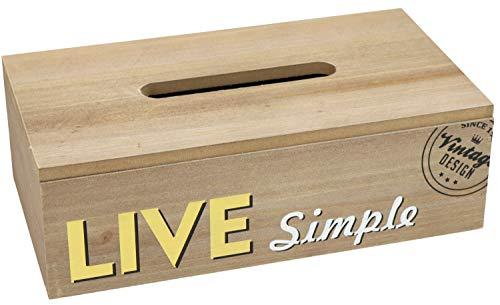 com-four® Kosmetiktücherbox aus Holz - Taschentuchspender mit klappbarem Deckel - Papiertuch-Spender (Kosmetikbox - 01 Stück Holz V2)