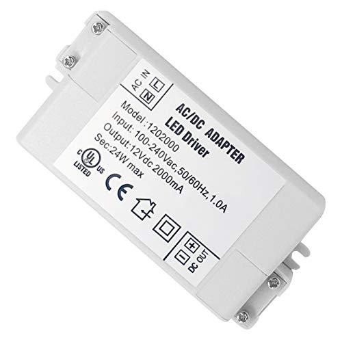 VARICART IP44 12V 2A 24W LED Treiber, Universal Reguliertes AC DC Schaltnetzteil, Konstanter Spannungswandler Adapter für CCTV Kamera Neonleuchte G4 MR11 MR16 GU5.3 Glühbirne (2-er Packung) - 120v 36 Led-glühbirne